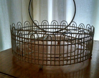 Vintage Round Wire Glass Holder White Rubber Coated