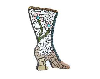 Victorian Boot Mosaic wall hanging, Mosaic Shoe, Flower Boot, Home decor, Girl's Room Decor, Powder Room Decor, Garden, Old Fashion Shoe