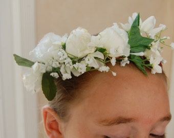 Flower Girl Flower Crown, White Flower Crown Headband, Flower Halo Headband, Flower Girl Headband,Wedding Headband,Wreath Headband