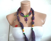 Wooden Beaded purple Cotton Scarf, Cotton Necklace, beaded Belt, Headband, Neck wrap Gift for woman, Turkish Scarf Yemeni, party favors