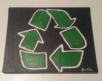 "ORIGINAL Acrylic Painting ""Reduce, Reuse, Recycle"""
