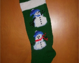 Hand-knitted Personalized 2 Snowan Chistmas Stocking with Green Background
