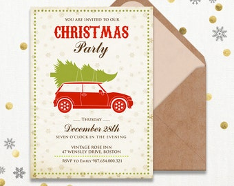 Printable Christmas party invitations template Rustic Holiday Party Invitation Instant Download - DIY Christmas Card Christmas Holiday Party