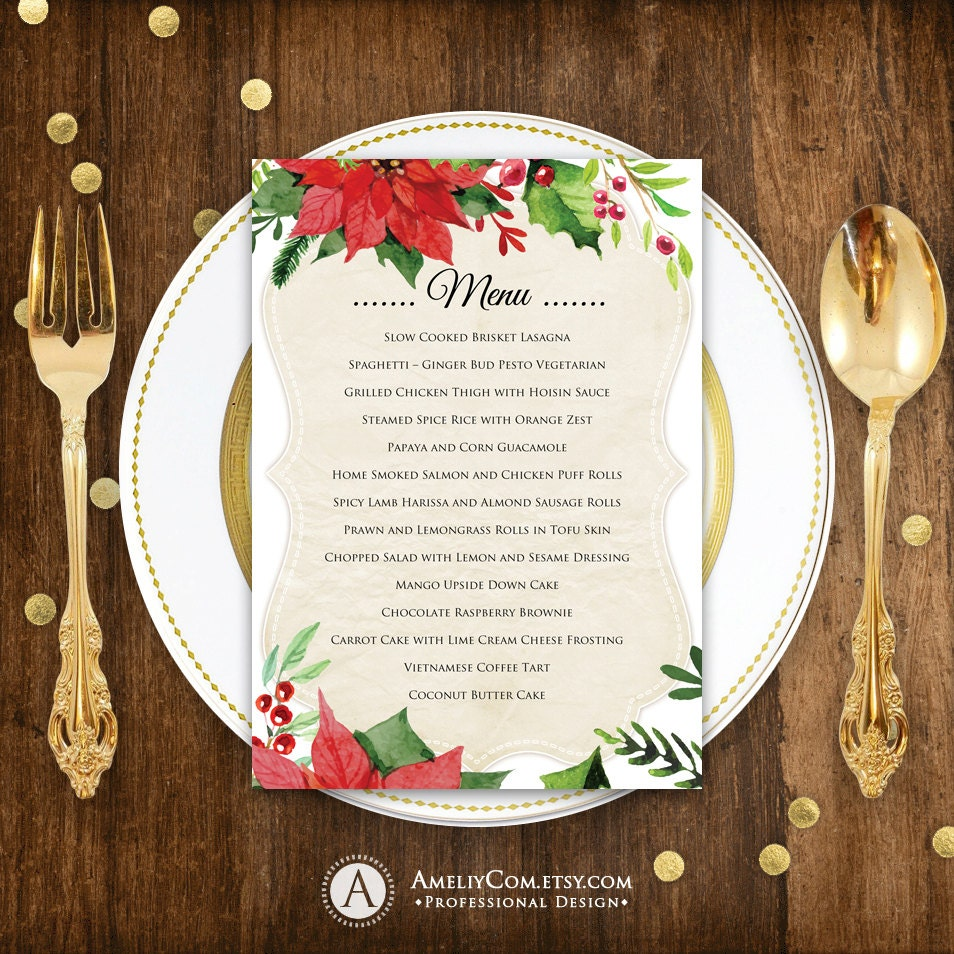 Christmas Menu Printable Dinner Menu Rustic Christmas Dinner Menu Holiday  Menu U0026 Winter Dinner Party DIY Menu Card INSTANT DOWNLOAD Editable  Free Christmas Dinner Menu Template