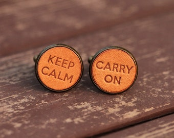 Men's cufflinks - Vintage Style Cufflinks - Keep Calm&Carry On Cufflinks with a gift box