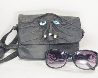 Black Leather Handbag Purse Messenger Bag Cross Body Monster Harry Potter Labyrinth Goth