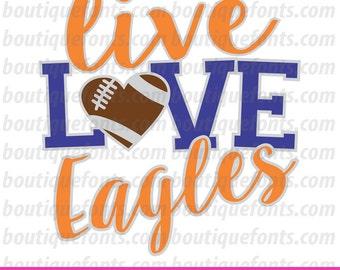 Live Love Eagles Football SVG Cut Files - Instant Download