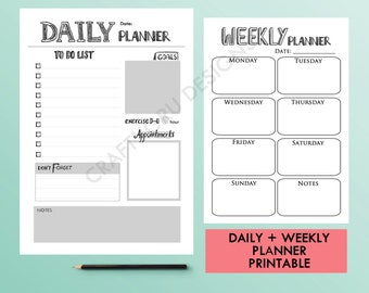 Planner Pages, Daily and Weekly Planners, Instant Download Planner, Daily Plan, Minimalist Planner, Black and White, Routine Tracker