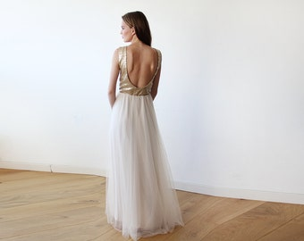 Gold sequins open back maxi tulle dress, Backless gold tulle and sequins gown