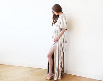 Metallic Light Gold Bat-Sleeve Maxi Dress 1105