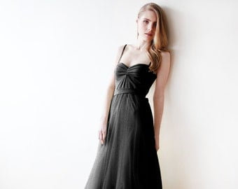 Black maxi tulle ballerina gown, Sweetheart neckline maxi back tulle gown