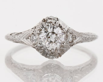 Antique Engagement Ring - Antique Edwardian Platinum Filigree Diamond Engagement Ring
