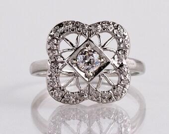 Antique 1930s 14K White Gold Diamond Fashion Ring