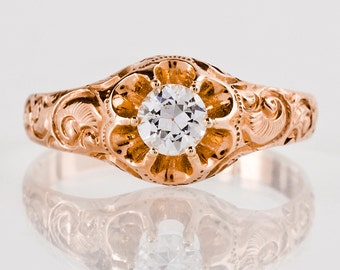 Antique 1930's 14k Rose Gold Diamond Engagement Ring