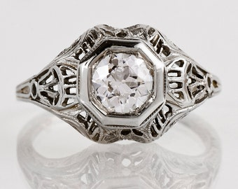 Antique Engagement Ring - Antique Edwardian 18k White Gold and Diamond Filigree Engagement Ring