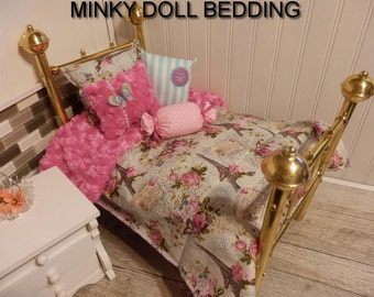 """American girl doll bedding,Aqua and pink Paris Comforter with Reversible Pink Minky, 4 Decorative pillowsFits any 18-20"""" Dolls  # 166"""
