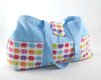 Medium Knitting Tote Bag - Rainbow Sheep