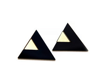 Geometric 80's Style Statement Earrings, Triangle Earrings, Black and Gold Color