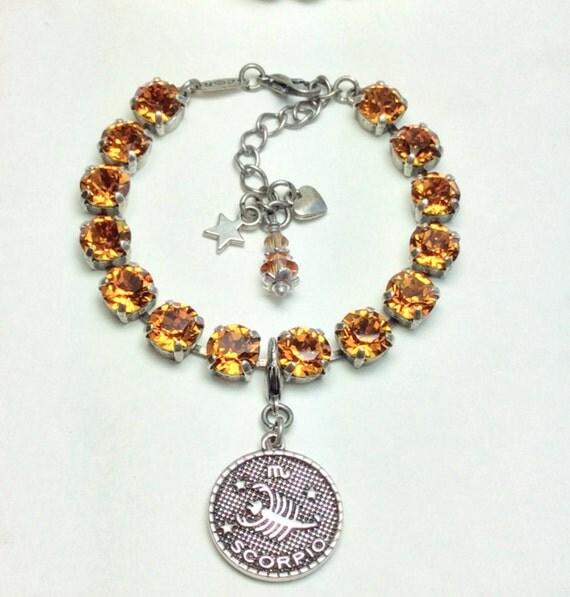 Swarovski Crystal 8.5mm - November/ Scorpio Birthstone Bracelet With Zodiac Charm - Great Birthday Gift - Topaz Birthstone - FREE SHIPPING