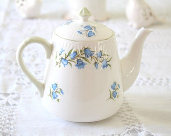 Vintage, English Fine Bone China Diminutive Tea Pot by Crown Staffordshire, Bluebell Pattern, Replacement China,Tea Party