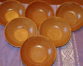 6 Vintage KYS-ITE Melamine...Wood Grain Pattern... Salad/Cereal/Nuts/ Etc...Bowls 1940's...Pattern 232...Made In USA!