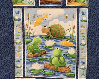 Frogs & Fishes Gender Neutral Baby Quilt