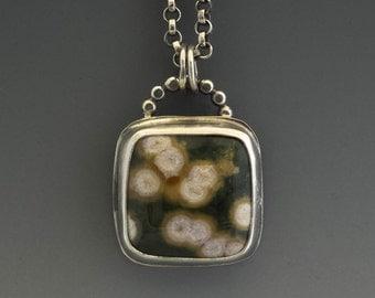 Silver Necklace, Ocean Jasper Necklace, Silver Pendant, Jasper Pendant, Metalsmith Jewelry, Handmade Necklace