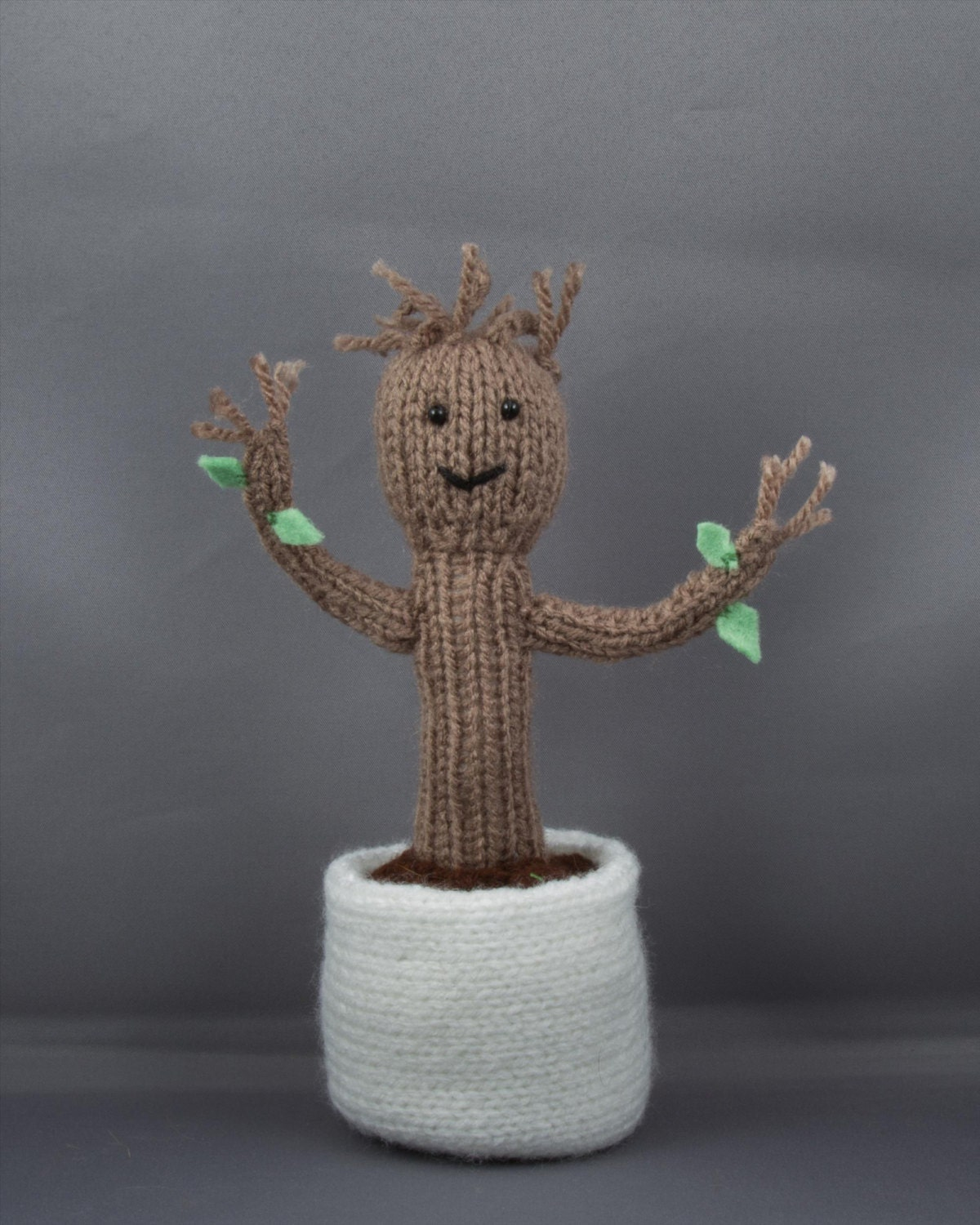 Baby Groot Knitting Pattern : Baby Groot Knitted Toy Doll Toy Plushy