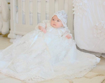 Stunning Alencon Lace Christening Gown, Baptism Gown, 0-3 months, 3-6 months, 6-9 months, 9-12 months, 12-18 months, 18-24 months,