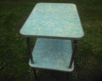 Vintage Utility Cart   Bar Cart   Blue And White Wood Cart   Kitchen Cart