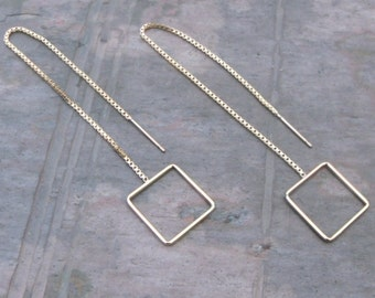 1 pair - 14/20 gold fill ear threads with open square