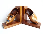 Reserved for D ...... Vintage Pair of CLOG BOOKENDS, Wood Shoe Bookends from Brittany. Folk Art from France.