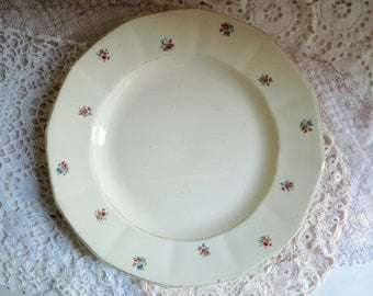 1 Antique CERAMIC SERVING PLATE, Cream White, Large Plate with Little Flowers and Roses. Stamped Digoin - Sarreguemines - France.