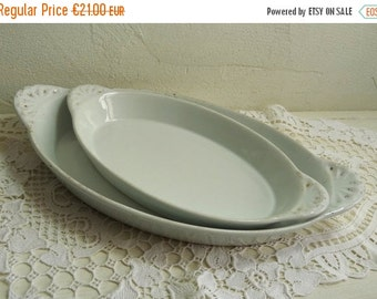 BLACK FRIDAY  SALE 2 White Porcelain Trays, Different Sizes, Shabby Handled Oven Dishes, Made in France.