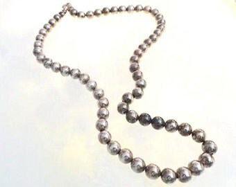 Sterling Silver Bead Necklace -Heavy Opera Length - Beaded on Chain - Signed 925 -  101 grams - 12 mm Beads -  Neck-6269a-070216050