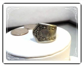 Silver Spoon Ring - Extra Wide Band - Floral Motif - Engraveable - Size 9 - Flatwear Ring - Mid Century - R1987a-122512000