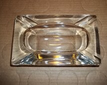 Vintage 50's Glass Ashtray / Large Thick Ashtray / Art Deco Heavy Ashtray Tobacciana Collectible Picture Prop