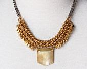 Modern Raw Brass Chainmaille Statement Necklace, Gunmetal Chain, Industrial Edgy Style, Raw Brass