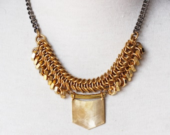 Modern Raw Brass Chainmaille Statement Necklace, Gunmetal Chain, Industrial Edgy Style, Raw Brass