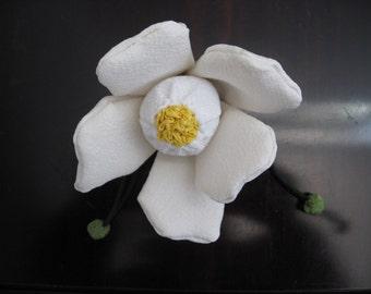 On sale,20%off,White Camellia Ornament,Chirimen Zaiku,Japanese  Kimono fabric# 2