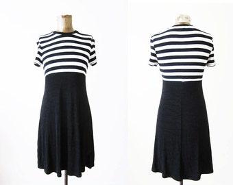 90s Striped Dress / Black and White Stripe Mini Dress / Babydoll Dress