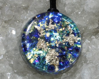 Apatite and Beryl Orgone Energy Healing Pendant with Gold Flakes