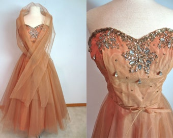 Peggy Hunt 1950's Evening Gown Cocktail Holiday Prom Dress