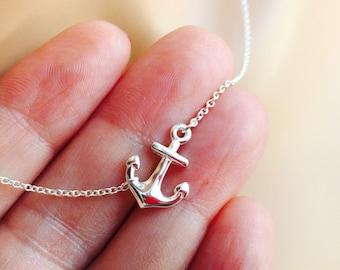 """All Sterling Sideways Anchor Necklace, 16"""" , 17"""", 18"""" inch, nautical, sideways, marine, spiritual"""