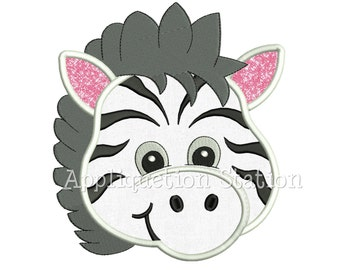 Zoo Baby Head Zebra Applique Machine Embroidery Design Boy Girl Cute Jungle Safari animal INSTANT DOWNLOAD