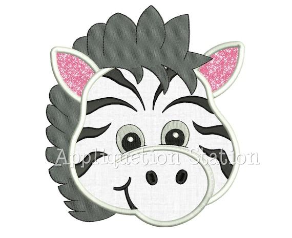 Zoo Baby Head Zebra Applique Machine Embroidery Design Boy