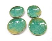Pottery Shell Teabag Holders, Ceramic Shell Teabag Holders, Pottery Shell  Dishes, Ceramic Shell Dishes, Teaspoon Rest, in Green Blue