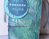 Beautiful Blue Tag, Mixed Media Tag, Gift Tag, Tag with Tiny Star Brads, Butterflies with Glitter, Inca Gold Wax, Journal Tag, Scrapbook