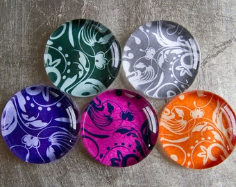 Super Strong 1.5-inch Round Glass Magnets Set of 5 (Buy four magnets get one free) with Colorful Patterns - Purple Green Pink Gray Orange