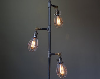 Industrial Style Floor Lamp - Edison Bulb Cage - Industrial Furniture - Pipe Lamp - Standing Lamp - Articulating